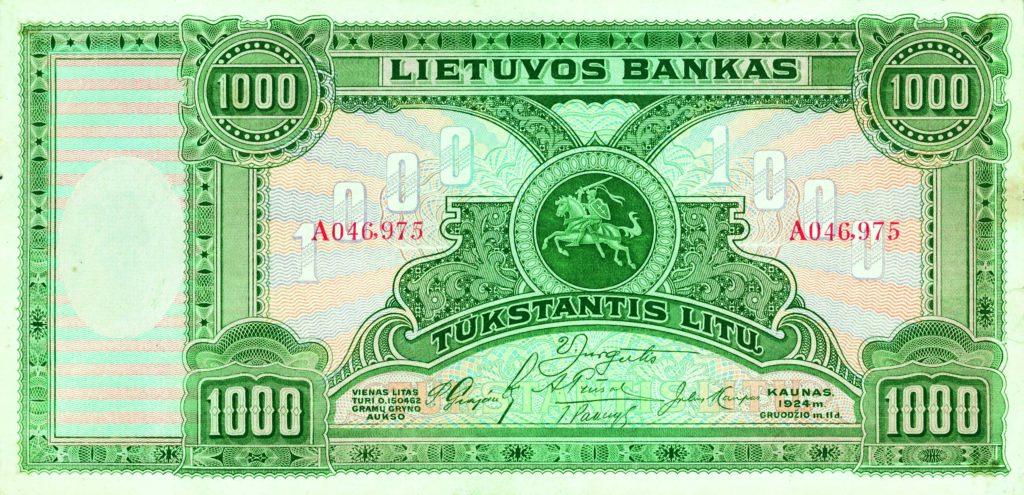 1000 litas - Banque de Lituanie du 11 Décembre 1924