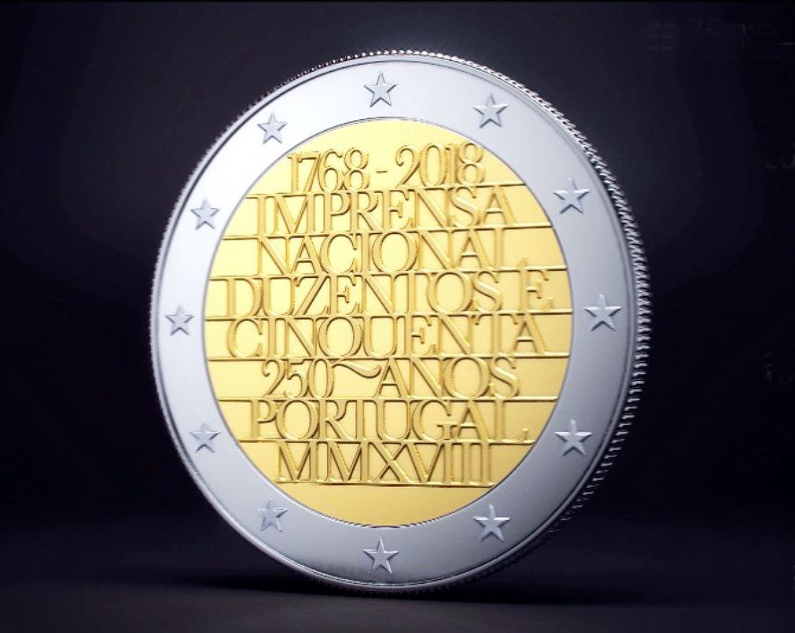 €2 commemorative coin dedicated to 250th anniversary of national printing office of Portugal