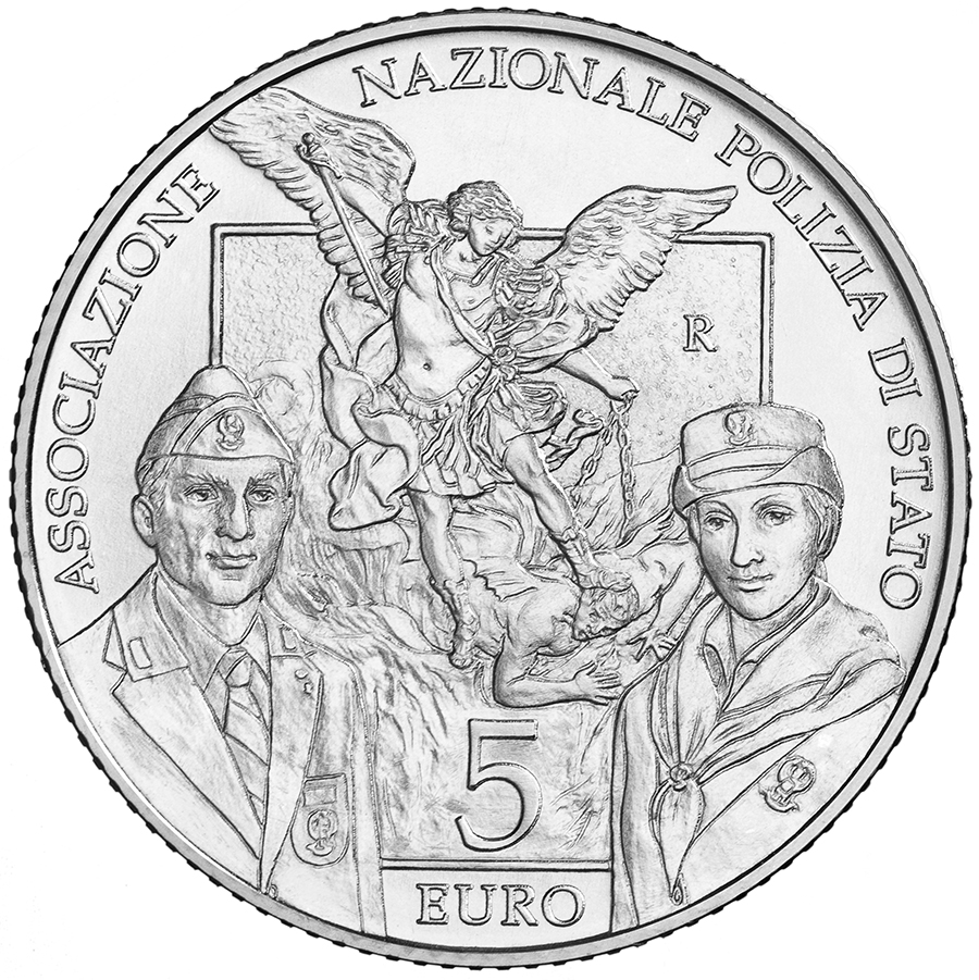 5 euro - 50 th Anniversary of the foundation of the National Association of the State Police italy 2018
