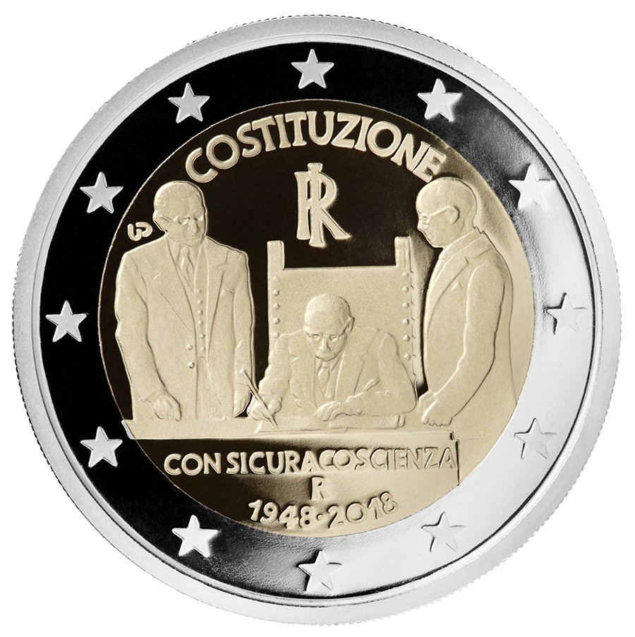 2 euro - 70th Anniversary of the entry into force of the Italian Constitution italy 2018