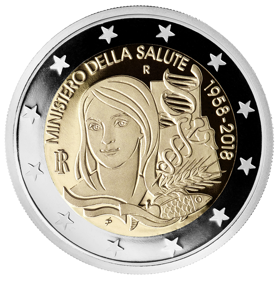 2 euro - 60th Anniversary of the foundation of the Ministry of Health Italy 2018