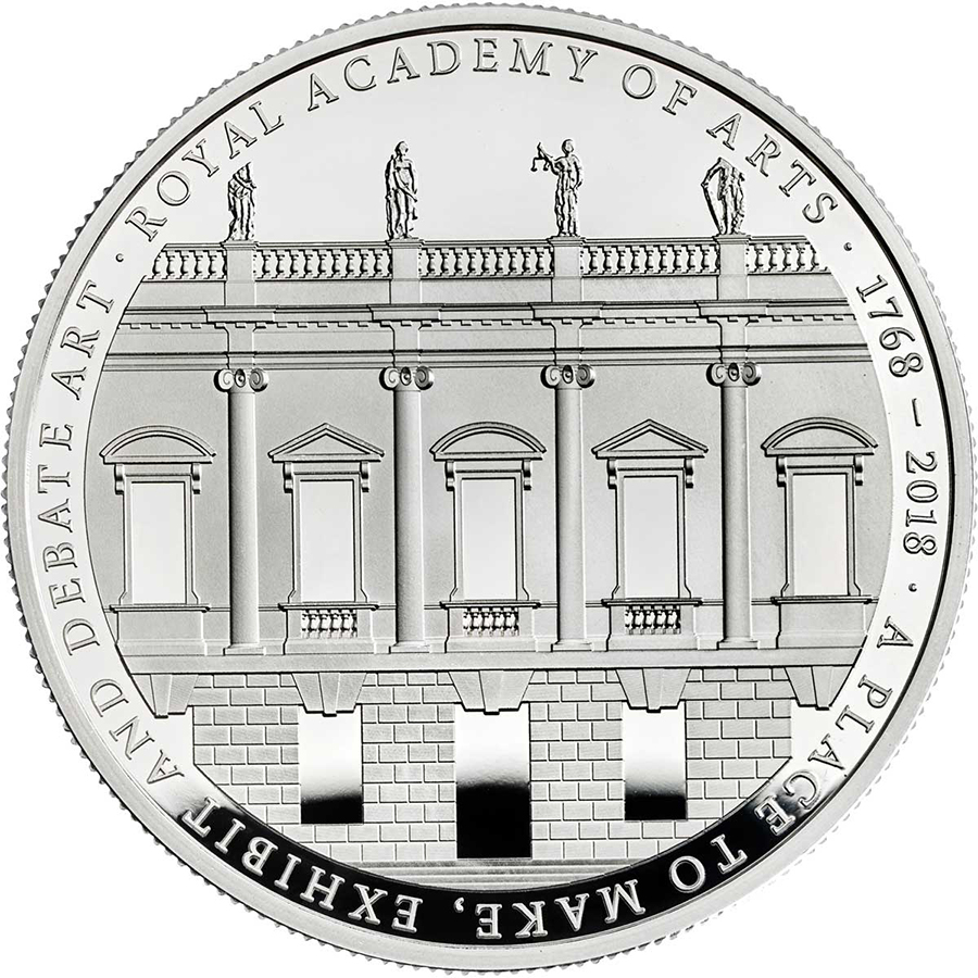 Commemorative 5 pounds proof silver coin marking 250th anniversary of Royal Academy