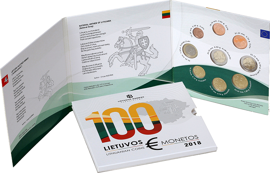 The numismatic set of circulation euro coins of 2018 issu - €2 commemorative 100th anniversary of the restoration of Lithuania's independence 1918 2018