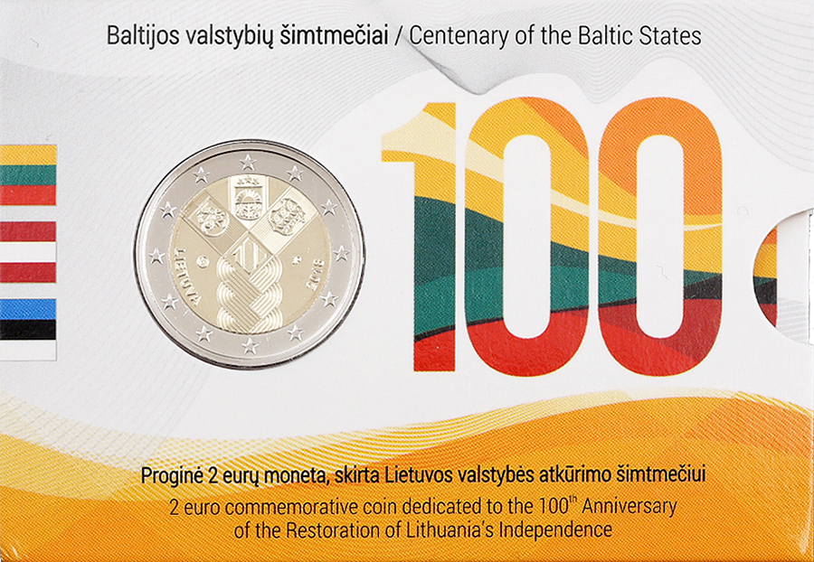 €2 commemorative coin 100th Anniversary of the Restoration of Lithuania's 1918 2018