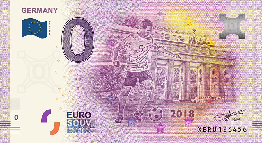 2018 RUSSIA football world cup - Germany zero euro banknote - the new 32 zero euro banknotes range