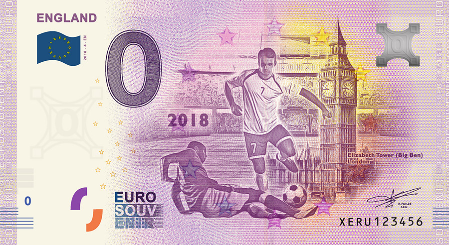 2018 RUSSIA football world cup - England - 2018 RUSSIA football world cup: the new 32 zero euro banknotes range