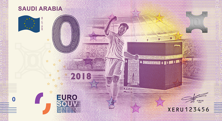 2018 RUSSIA football world cup - Saudi Arabia zero euro banknote