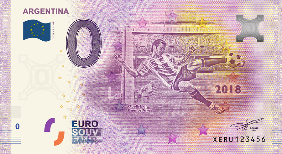 2018 RUSSIA football world cup - Argentina zero euro banknote