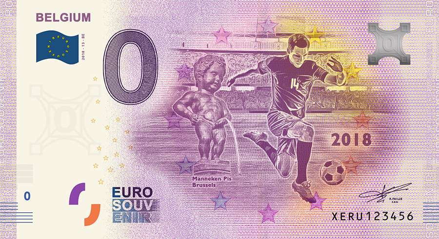 2018 RUSSIA football world cup - Belgium zero euro banknote