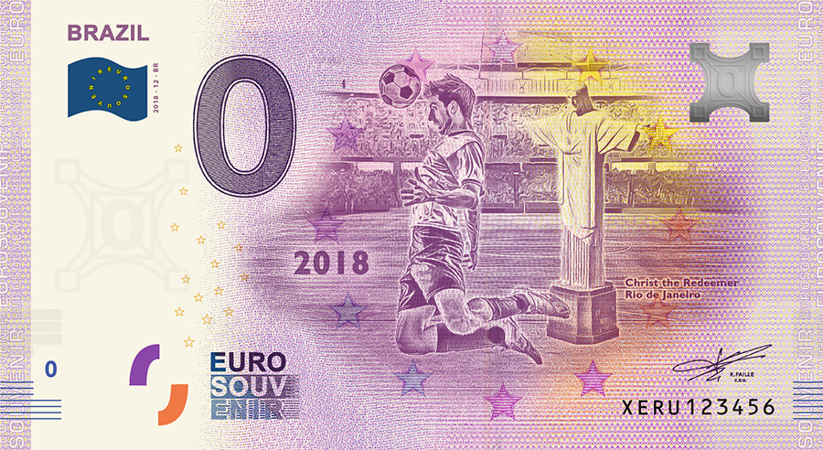 2018 RUSSIA football world cup - Brazil zero euro banknote