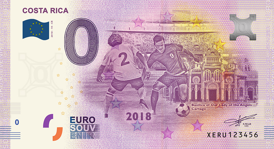 2018 RUSSIA football world cup - Costa Rica zero euro banknote