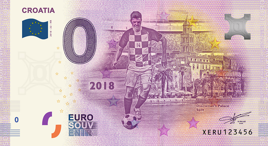 2018 RUSSIA football world cup - Croatia zero euro banknote