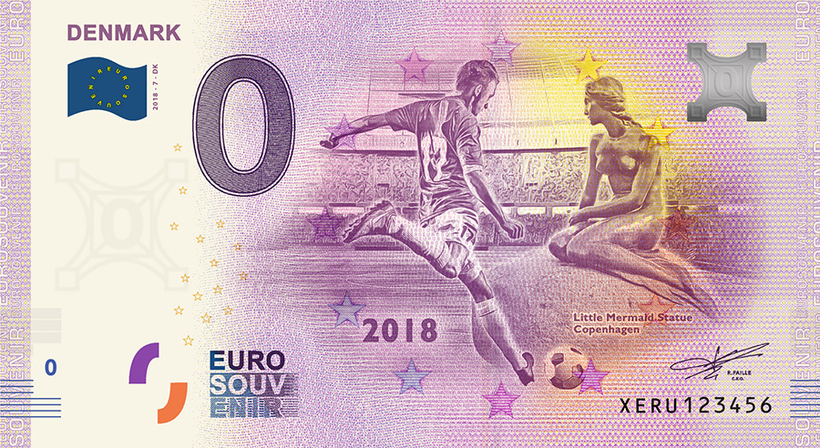 2018 RUSSIA football world cup - Denmark zero euro banknote