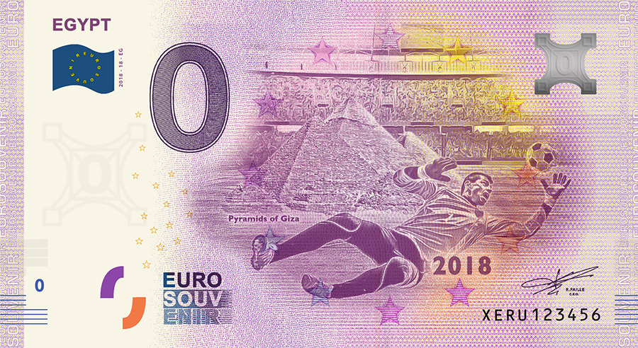 2018 RUSSIA football world cup - Egypt zero euro banknote
