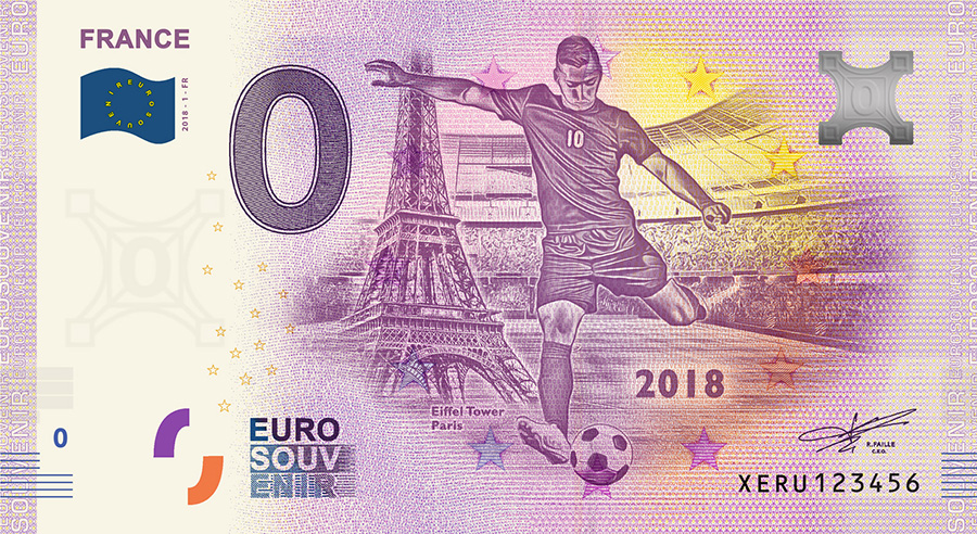2018 RUSSIA football world cup - France zero euro banknote