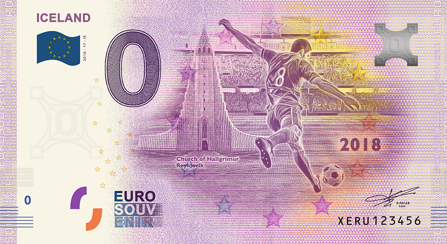 2018 RUSSIA football world cup - Iceland zero euro banknote