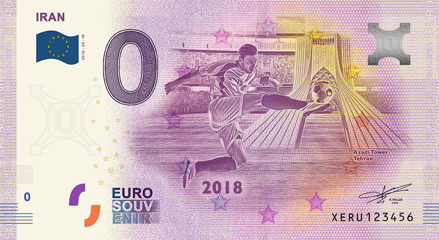 2018 RUSSIA football world cup - Iran zero euro banknote