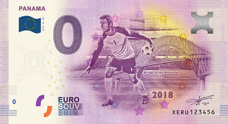 2018 RUSSIA football world cup - Panama zero euro banknote