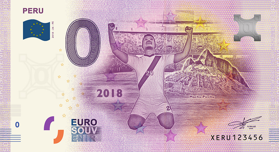 2018 RUSSIA football world cup - Peru zero euro banknote