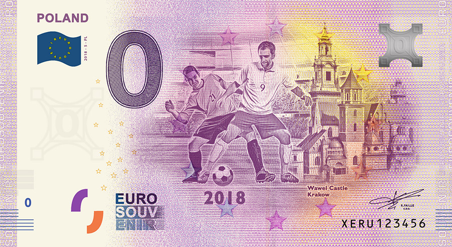 2018 RUSSIA football world cup - poland zero euro banknote