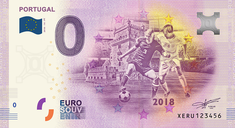 2018 RUSSIA football world cup - Portugal zero euro banknote