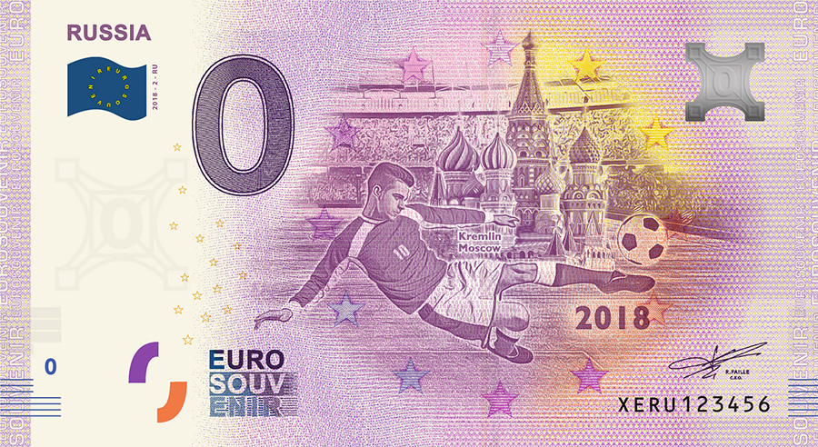2018 RUSSIA football world cup - Russia zero euro banknote
