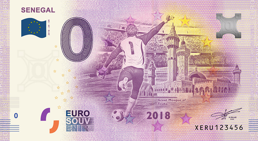 2018 RUSSIA football world cup - Senegal zero euro banknote