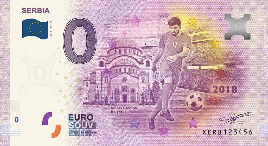2018 RUSSIA football world cup - Serbia zero euro banknote