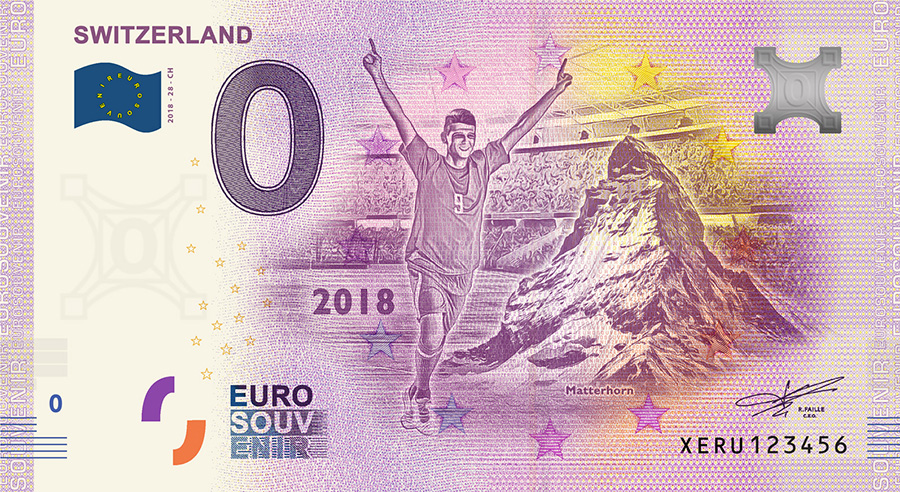 2018 RUSSIA football world cup - Switzerland zero euro banknote