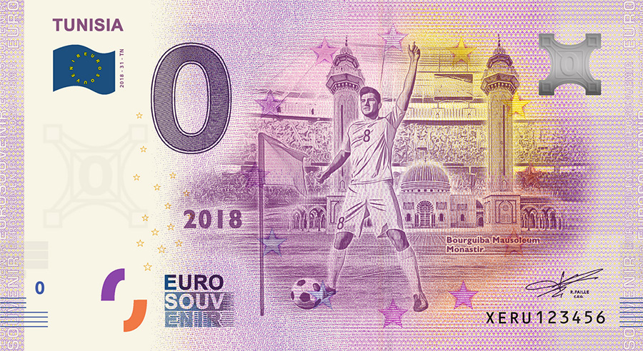 2018 RUSSIA football world cup - Tunisia zero euro banknote