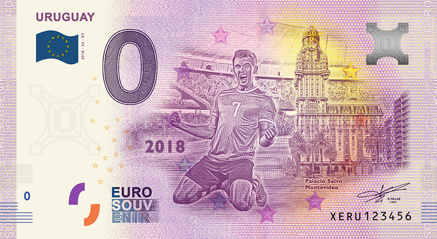 2018 RUSSIA football world cup - Uruguay zero euro banknote