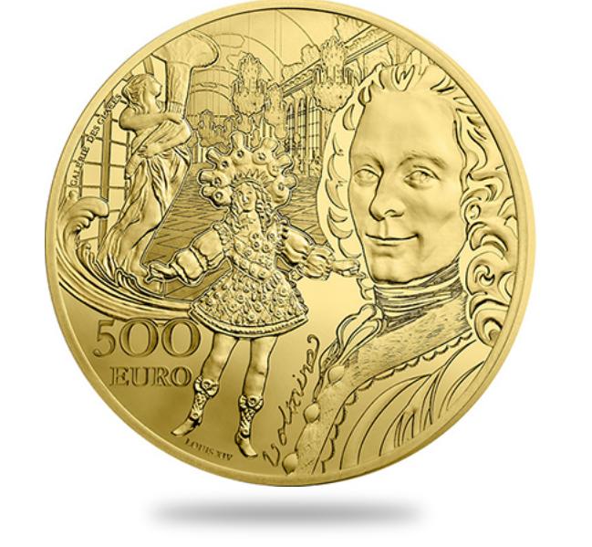 500€ Or - Voltaire et le roi Louis XIV dansant - Epoque Baroque - monnaie de Paris 2018