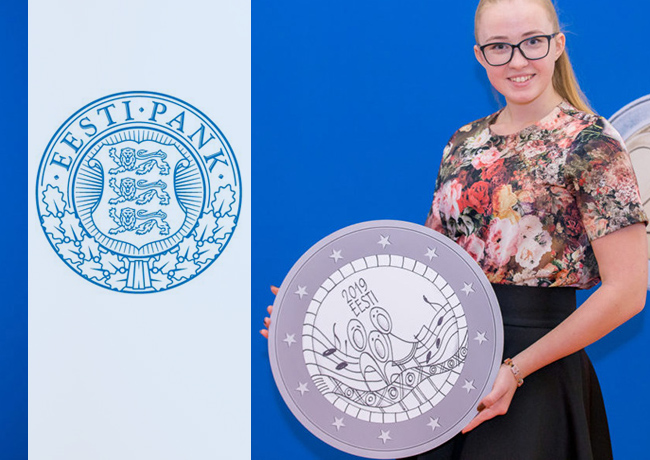 Grete-Lisette Gulbis 15 years old designer of 2019 estonian €2 commemorative coin Song Festival