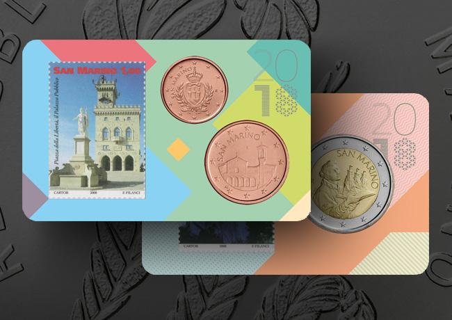 Nouvelles pièces de 2 & 5 euro, Set BU, Coincard de la Monnaie de la République de Saint-Marin 2018