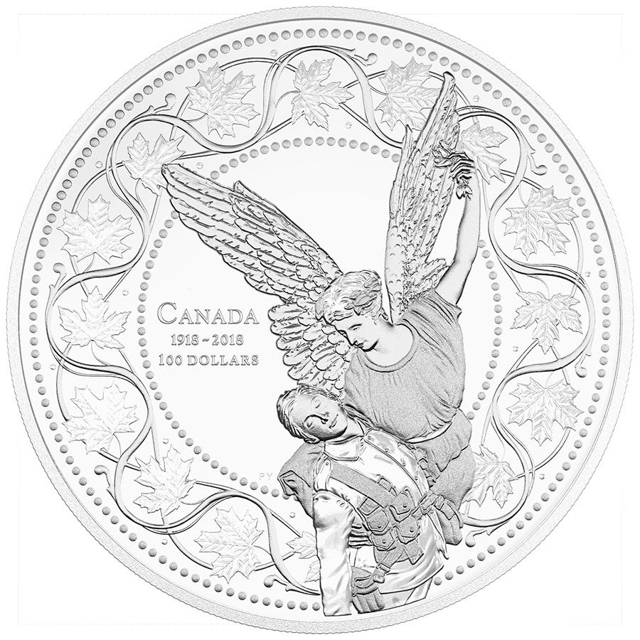 La pièce de 100 $ en argent fin 2018 – L'Ange de la Victoire