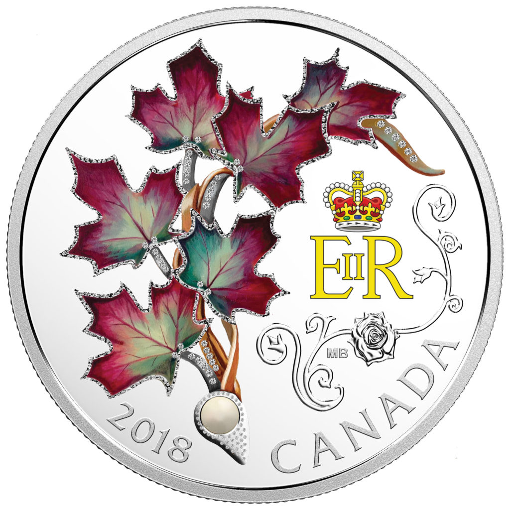 Pièce de 20 $ en argent fin 2018 – Broche de Sa Majesté la reine Elizabeth II avec feuilles d'érable