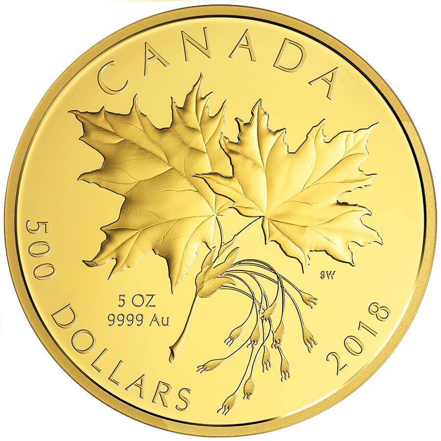 500 $ en or pur 2018 Canada