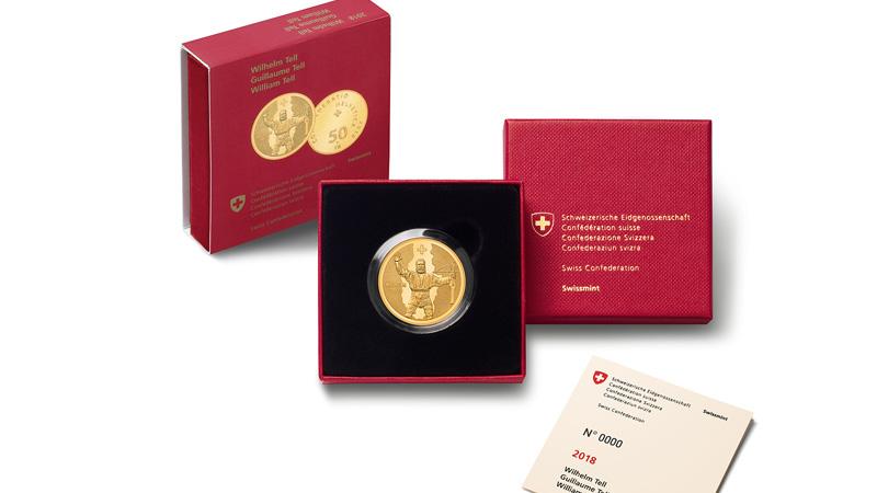 SUISSE: pièces commémoratives 2018 or et argent Guillaume TELL et Bateau Vapeur La Suisse