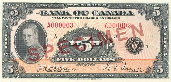 billet de banque canadien 500