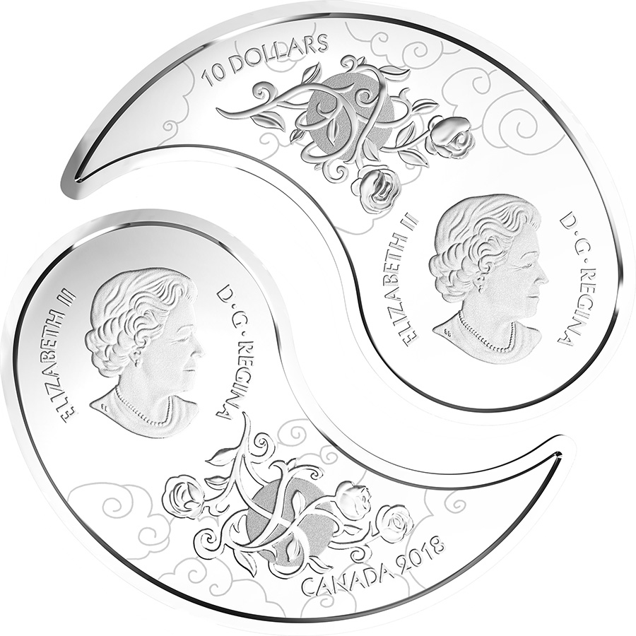 10 $ en argent fin 2018 – Le yin et le yang en noir et blanc