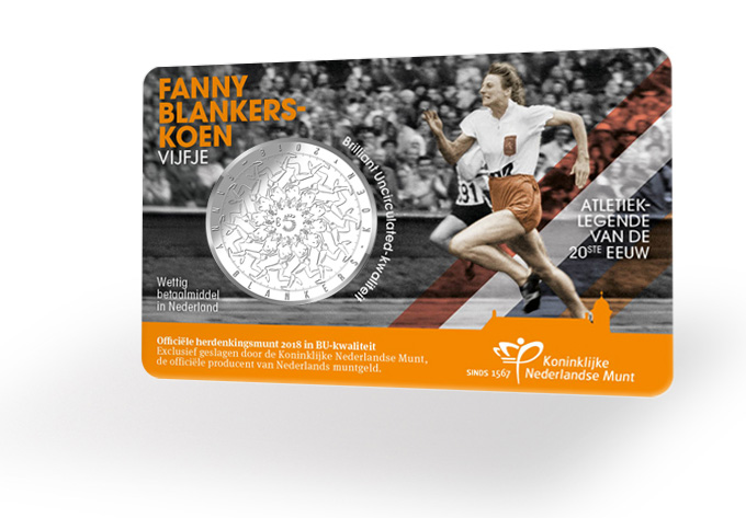 5€ Fanny BLANKERS - coin card Monnaie des Pays-Bas KNM