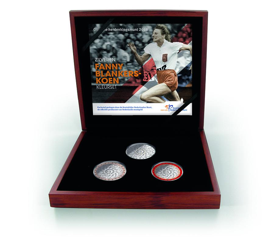 Silver Fanny Blankers-Koen 5 Euro Coin Colour Set - 2018 €5 silver and €10 gold Fanny Blankers-Koen commemorative coins