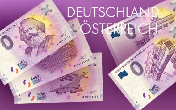 Billets 0 euro Souvenir touristique – Allemagne, Autriche 2018