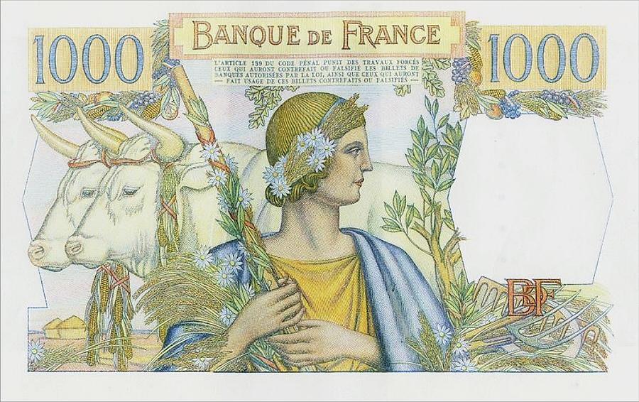 1 000 francs type 1945 « République et Cérès » - Banque de France - Non émis