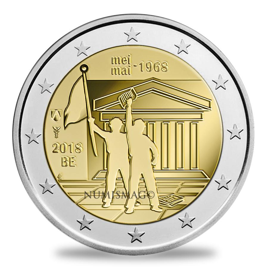 2€ commémorative 2018 « Mai 1968 » en Belgique