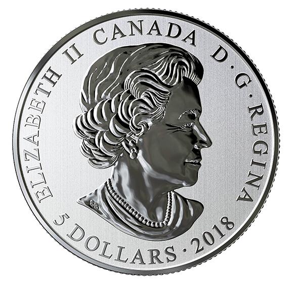 Pièce de 5 dollars photoluminescente en argent pur - Monnaie Royal du canada - 2018