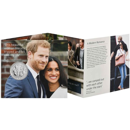 The Royal Wedding 2018 UK 5 pounds coin in BU condition, sold in a leaflet