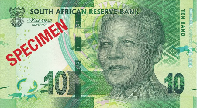 r10 South Africa: commemorative banknotes and coins for centenary of MANDELA's birth