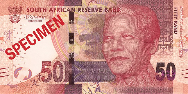 r50 South Africa: commemorative banknotes and coins for centenary of MANDELA's birth