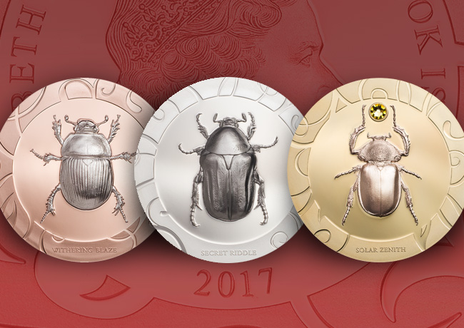 Elisabeth II 5$ Cook Islands Scarab Beetle – 3-Coin Set HR 1 oz Silver Proof